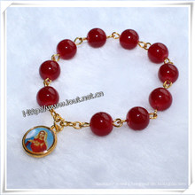 Religious 8mm Red Glass Beads Finger Rosary with The Virgin Mary (IO-CE018)