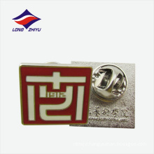White line logo lapel pin badge butterfly clasp