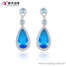 29910 Mode élégant Coeur CZ Diamant Rhodium-Plated Imitation Bijoux Boucle d'oreille Drop