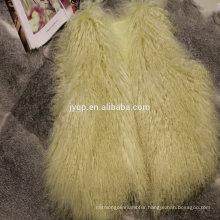 Wholesale Real Tibetan Mongolian Lamb Curly Fur Wool Waistcoat