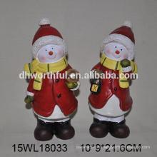 Оптовая ручной керамической снеговик фигурка для рождественских украшений