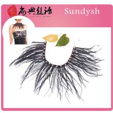 fashion handmade hot sale vintage sexy shirt bib jeweled high fake beaded feather collar necklace wholesale