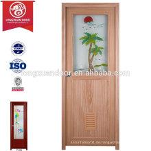 China-Fabrik-preiswerter PVC-Plastik-Toiletten-Badezimmer-Tür mit mattiertem Glas
