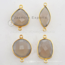 Vermeil Natural Beautiful Gray Calcedony Gemstone Bezel Connectors