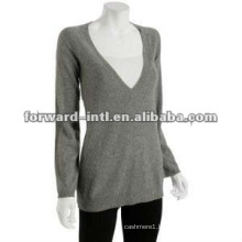 customized big V neck cashmere pullover for women
