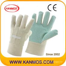 Двойная ластовица с белой спиральной тканью Назад Рабочие перчатки из хлопка ПВХ для промышленной безопасности (41008)