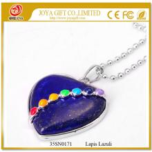 Heart Shape Lapis Lazuli 7 Chakras Gemstone Necklace