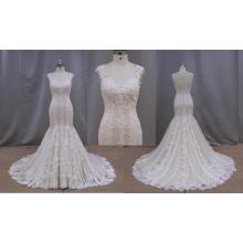 Factory Outlet Champagne Lace Applique Wedding Dress