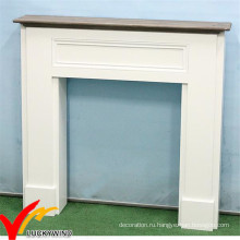 Белый французский стиль Потертый Chic Проблемный декоративный деревянный камин