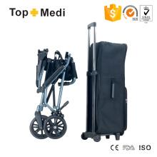 Silla de ruedas de transporte de aluminio plegable y fácil de transportar