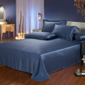 4PCS Silk Bedding Set Flat Fitted Sheet 2Pillowcases