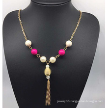 Colorful Beads Pearl Sweater Necklace (XJW13761)