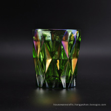 Green Colored Glass Candle Jar with Iridescent