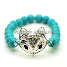 Turquesa 8mm rodada grânulos esticar pulseira de pedras preciosas com diamante liga fox cabeça pedaço