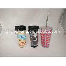 double wall plastic straw tumbler