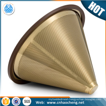 titanium coated gold pour over cone dripper /cone shape coffee filter strainer