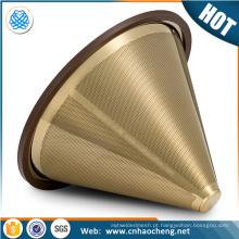 o ouro revestido titânio derrama sobre o gotejador do cone / filtro de filtro do café forma do cone
