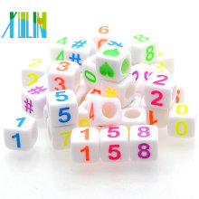 white back in colored letters acrylic single alphabet cube beads