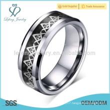 Classic vintage masonic symbol rings for men, retro men's tungsten rings