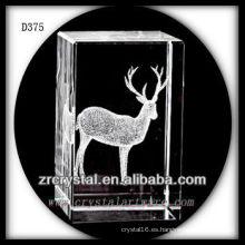 Bloque de cristal láser K9 3D con Cervus Nippon