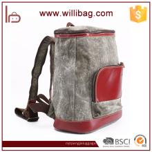 Personalidade Canvas Couro Escola Mochila Bag Vintage Backpack