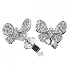 Qualitäts-CZ-Schmetterling pflastern 925 silberne Bolzen-Ohrring-Schmucksachen