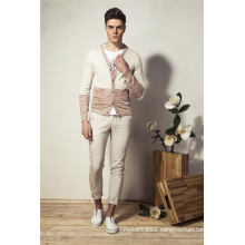 100%Cotton Spring V-Neck Knit Men Cardigan with Button