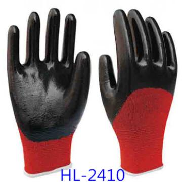 Rot Polyester Innenhandschuh mit schwarzer Nitril beschichtet, glatt eine halbe Finishing