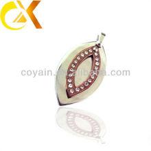 china alibaba Stainless Steel Jewelry men's pendant, custom leaf shaped rhinestone pendant