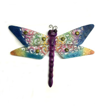 Rough Metal Dragonfly Wall Decoration with Color Stone