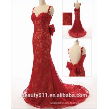 Robe réelle Elegant Sweetheart Spaghetti Straps Backless Mermaid Lace robe de soirée Robes de bal ZS15-06