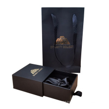 Custom Gold Foil Logo Gift Flip Packaging Box Sliding Jewelry Gift Box with Pouch