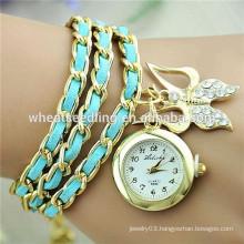 Alloy multialyer leather bracelet love butterfly style watch