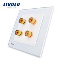 Производитель Livolo Белое Кристаллическое Стекло Панели 2 Банды Стены Дома Звук / Акустика Разъем VL-W292A-12 Великобритания стандарт