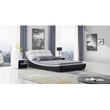 Muebles de dormitorio de cuero europeo con mesita de noche