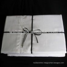 Luxury white color cotton plain or sateen bed sheets