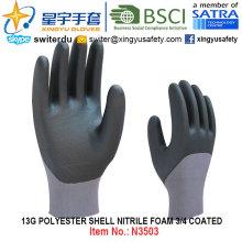 13G Полиэфирная оболочка Пена Нитрил 3/4 Покрытые перчатки (N3503) с CE, En388, En420, рабочие перчатки