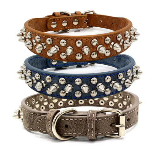 Kolar Pet Kulit Pu Rivet Studded Adjustable