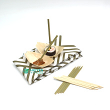 Super Quality of BBQ Bamboo Skewers BBQ Flat Food Picks With Green Skin