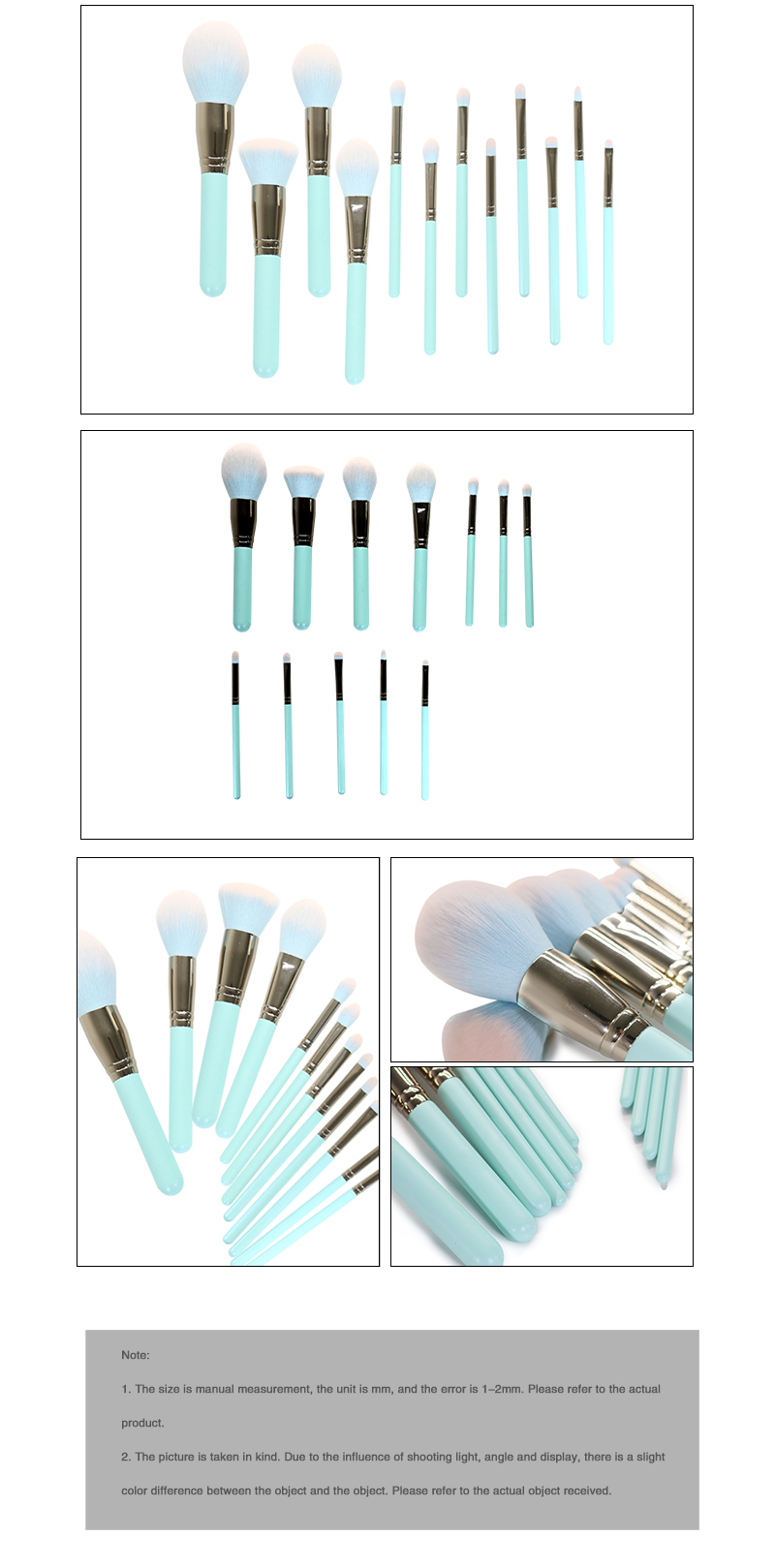 12 Piece Green Makeup Brushes Set 8