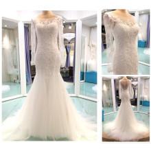 Neuer moderner spezieller Entwurfs-Ausschnitt-langer Hülsen-Schärpe sehen durch rückseitige wulstige Spitze Appliqued Meerjungfrau-Hochzeits-Kleid 15014
