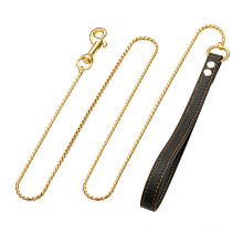 Wholesale Drop Shippping 4mm Gold Dog Chains  Stainless Steel Dog Leash Traction Rope Pet For Dog Training Leash
