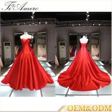 Vestido de boda 2016 vestido de bola vestido de boda más nuevo del vestido de boda del vestido rojo halter vestidos de boda nupciales del vestido de bola