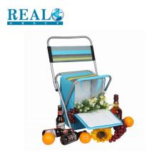 Camping cadeira dobrável de metal ao ar livre com cooler saco piquenique cadeira dobrável de aço