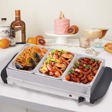 Roestvrij staal Drie 1.5L pannen Buffet Food Server
