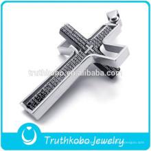 Configuraciones pendientes cruzadas dobles de alta calidad del acero inoxidable 316l con verso de la Biblia en venta