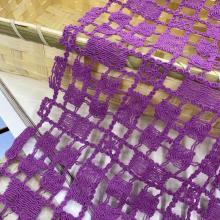 Square Grid Cotton Nylon Yarn Guipure Embroidery Fabric
