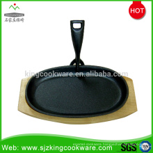 Round/Ovel cast iron steak plate with wooden base