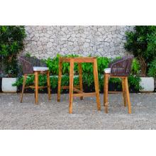 COLECCIÓN FLORES - Caliente de verano de mimbre PE Rattan Bar set 2 sillas y Acacia Mesa de madera para muebles de exterior