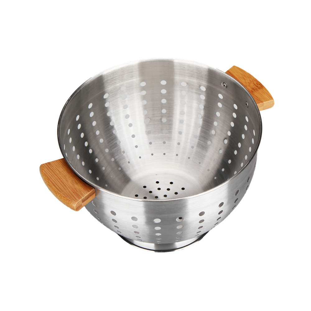 Stainless Steel Colander with wooden handle
